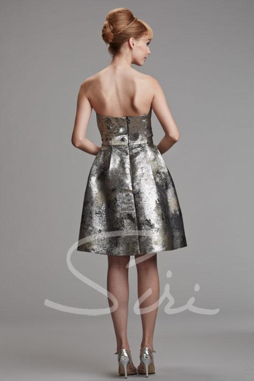 Silver Black strapless cocktail dress