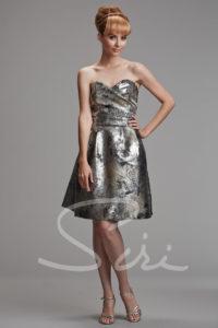 Silver Black Metallic Strapless Dress
