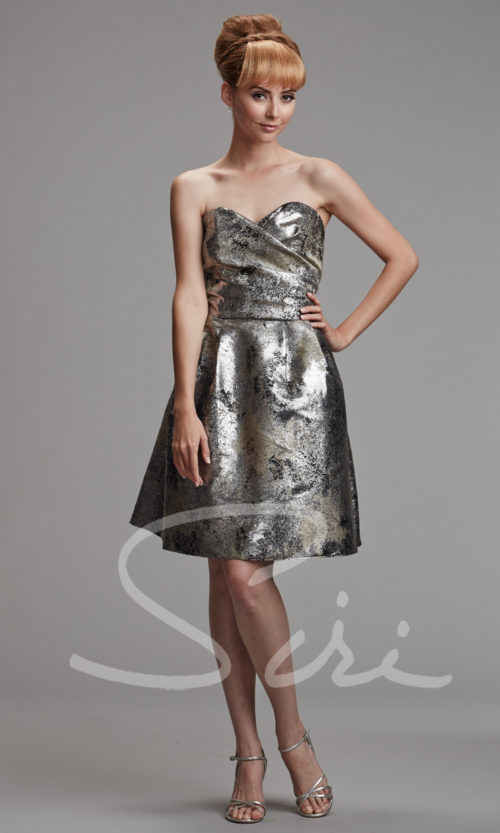 Silver Black Metallic Strapless Dress