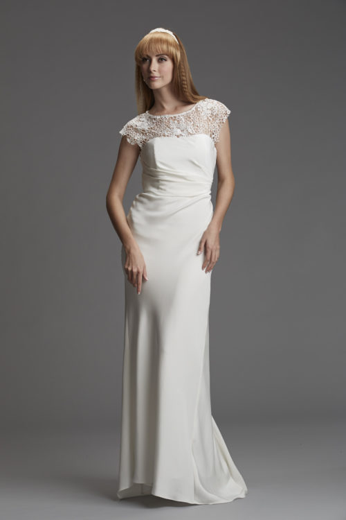 Lace silk bridal gown