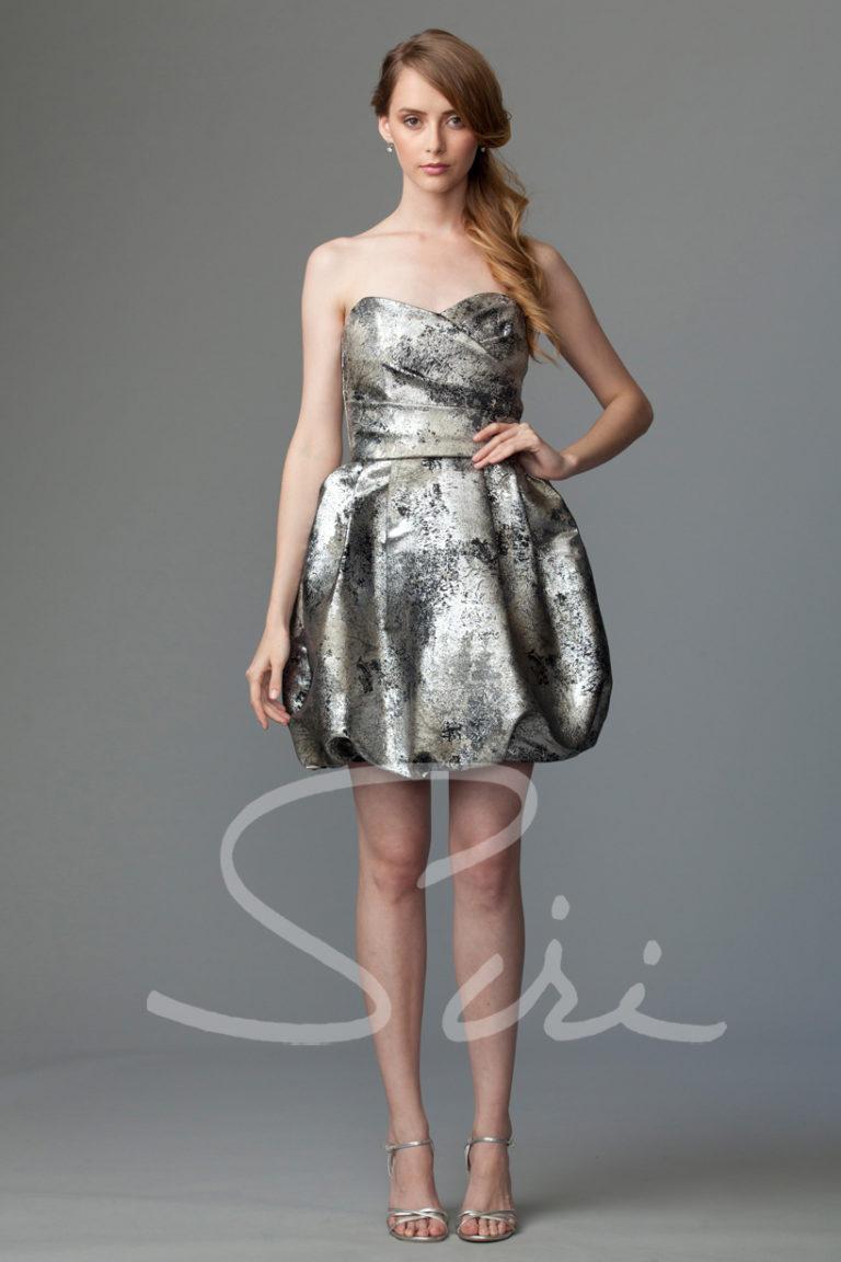 Siri Metallic strapless dress