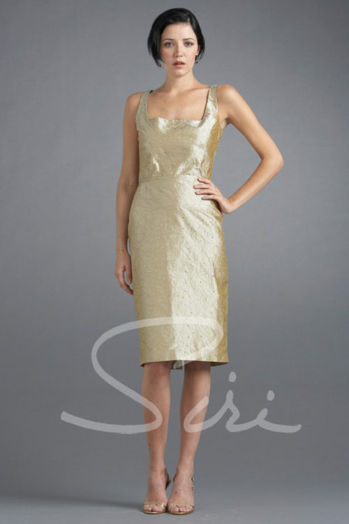Tan silk dress