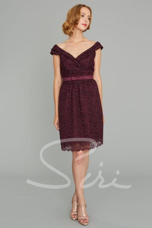 Portrait collar lace dress; wine color lace dress