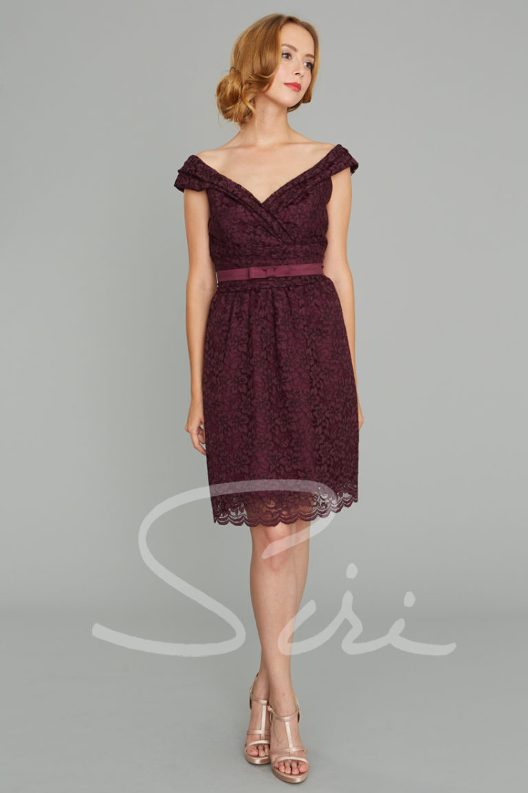 Portrait collar lace dress; wine color lace dress