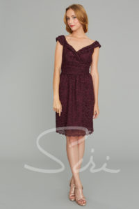 Lace dress; wine color dress; portrait neckline dress