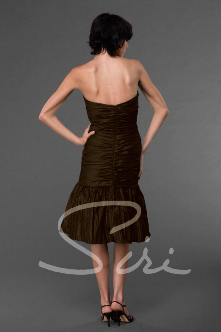 dark red strapless dress