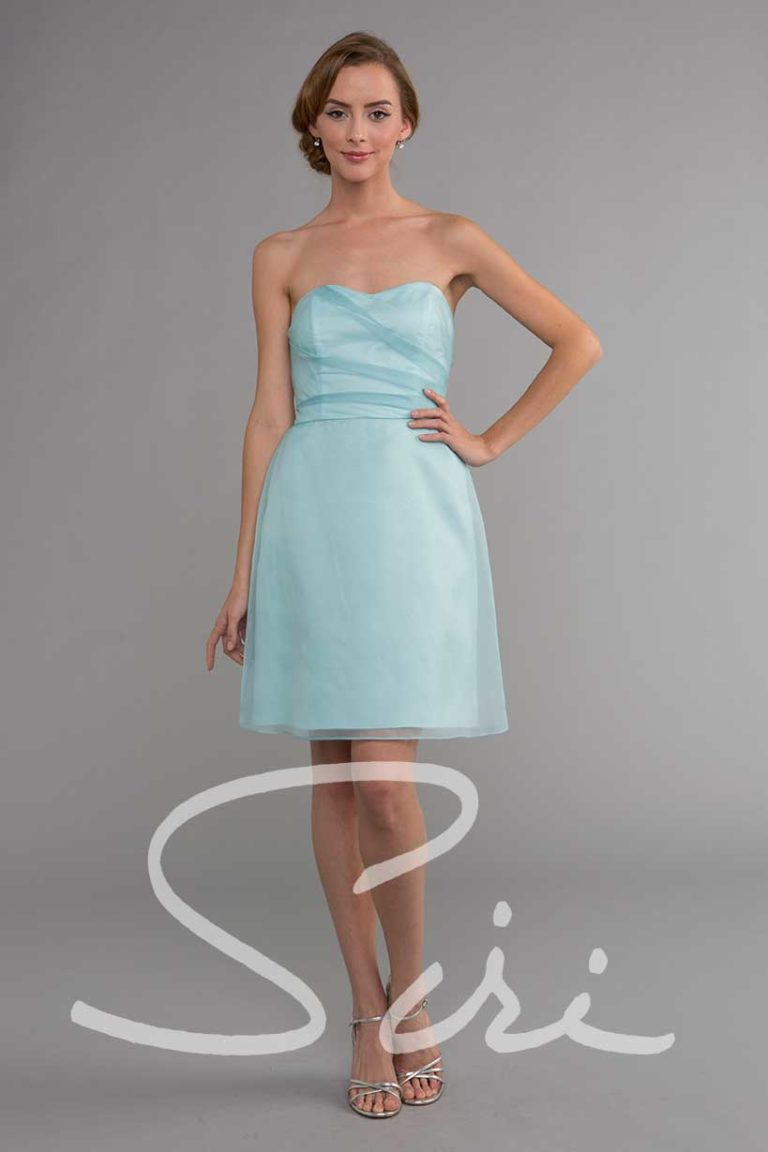 Blue strapless special occasion dress