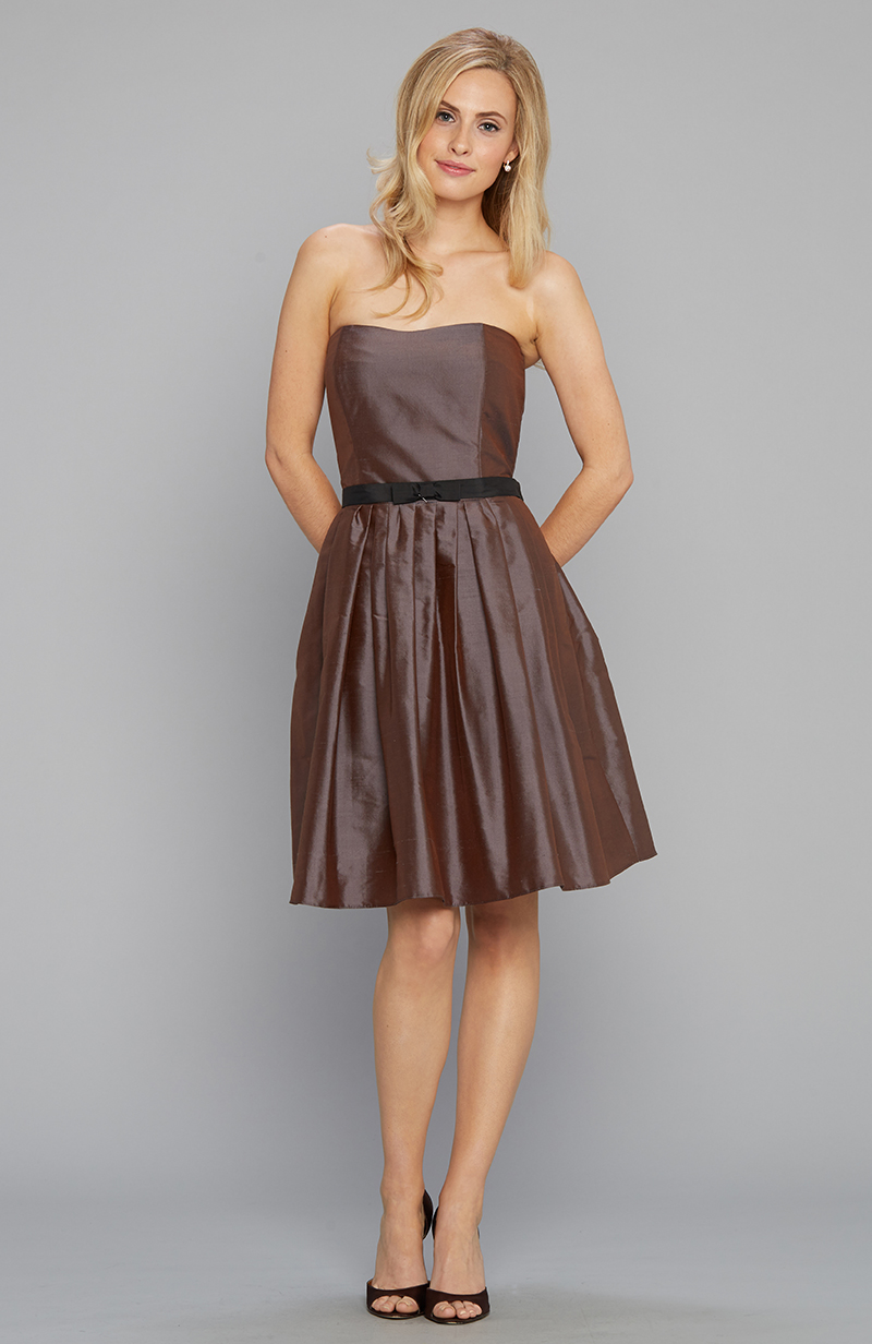 Strapless party dress in silk shantung chocolate and black belt
