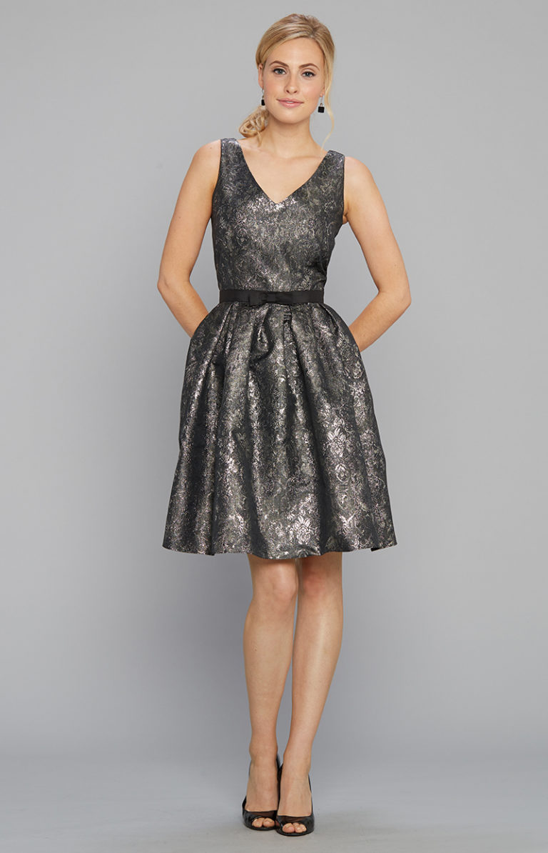 V neck party dress metallic with black belt