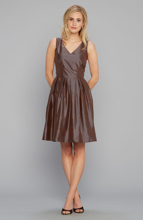 V-neck party dress silk shantung chocolate