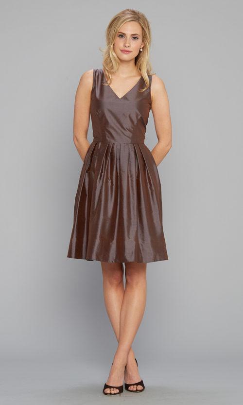 V-neck party dress silk shantung chocolate