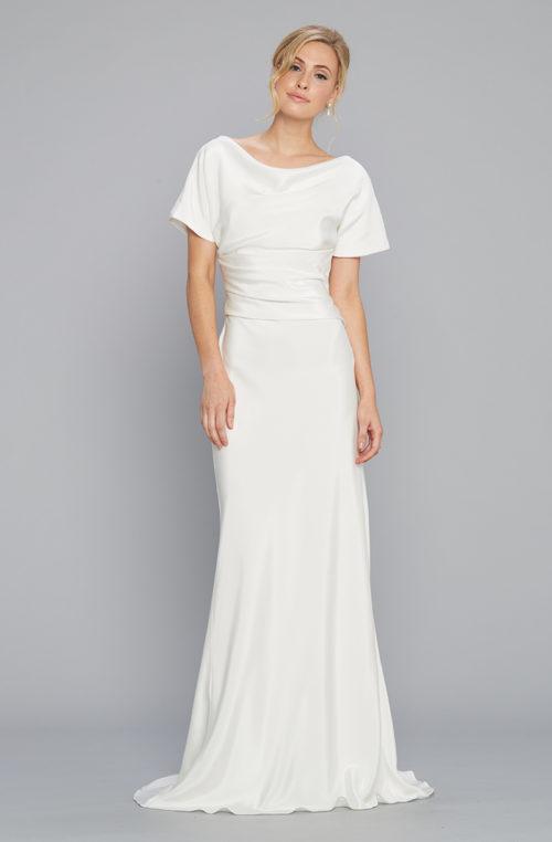 Silk crepe bridal gown