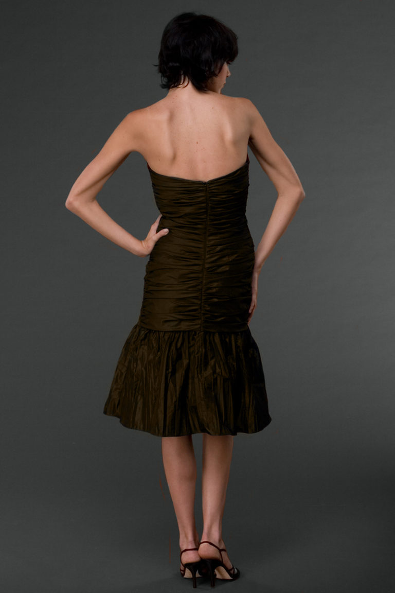 Strapless fitted tea length dress