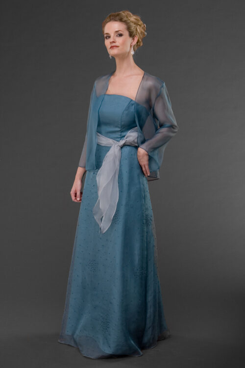 Siri - Blue Gown and sheer jacket