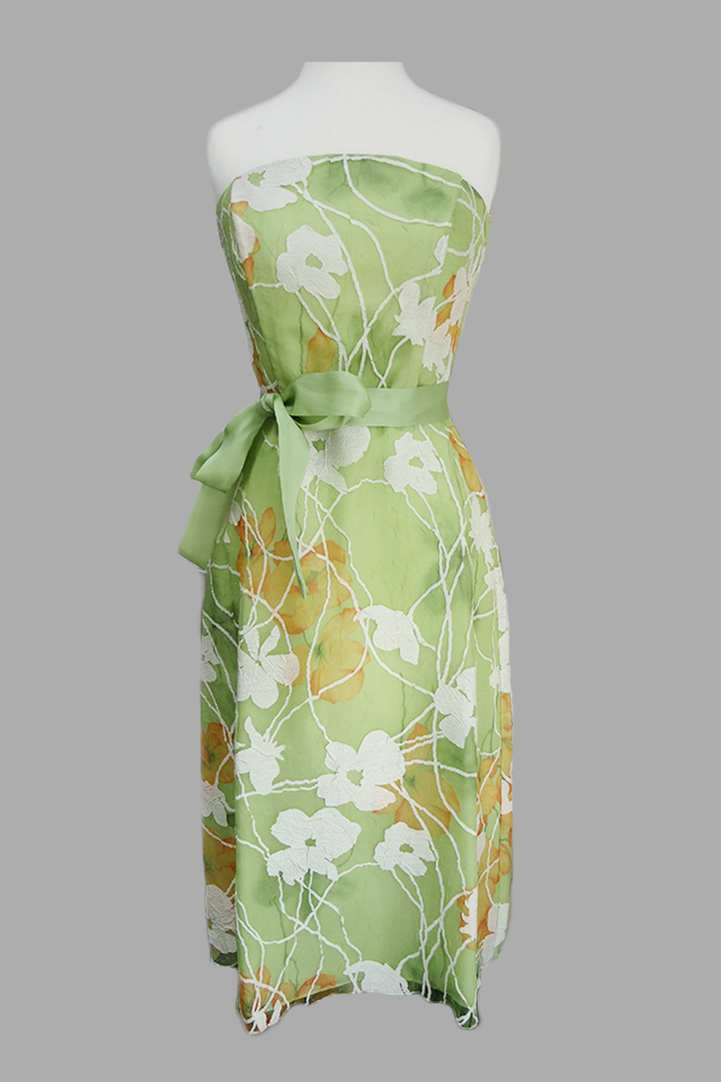 Siri - spring green floral dress