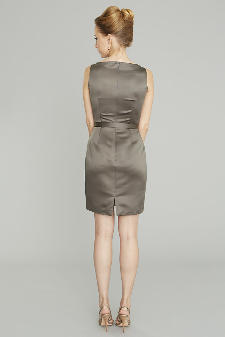 Siri Dresses-Eliza Dress 9130-Satin-Slate Grey-San Francisco-California
