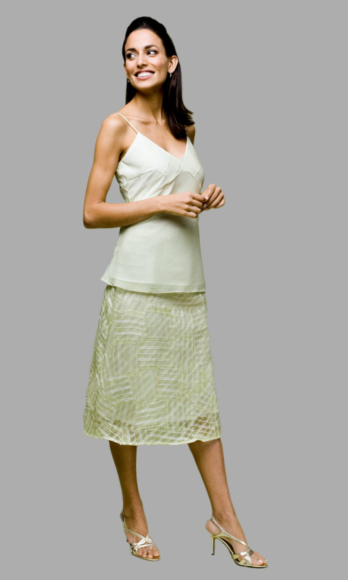 Siri - San Francisco Special Occasion Dresses - Girl Cami 9530 - Clean A-line Skirt 5627