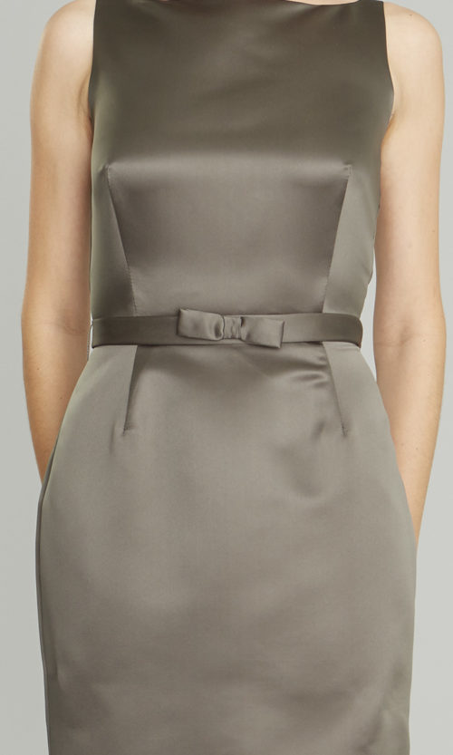 Siri Dresses-Narrow Bow Belt SA25-Satin-Slate Grey-San Francisco-California