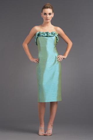 5840 - Ruffled Sheath - SH - Turquoise - FLG