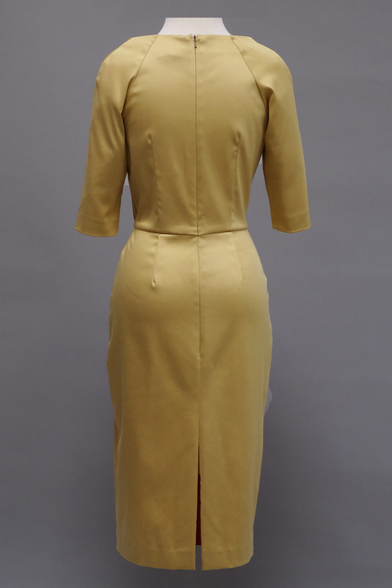 Siri gold stretch dress, back view