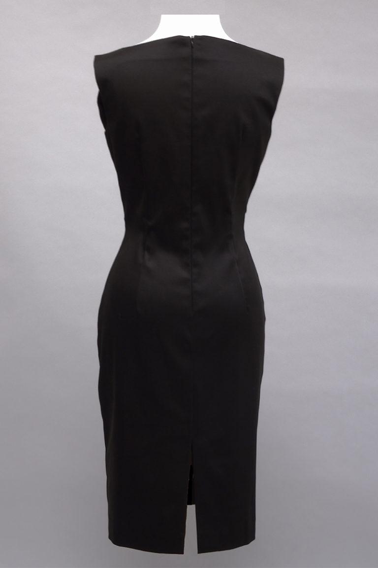 Black sleeveless stretch dress, back view