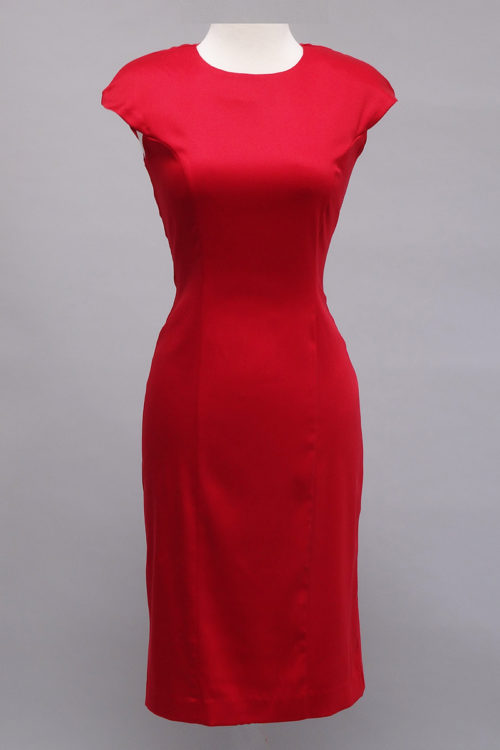 Red stretch sheath dress