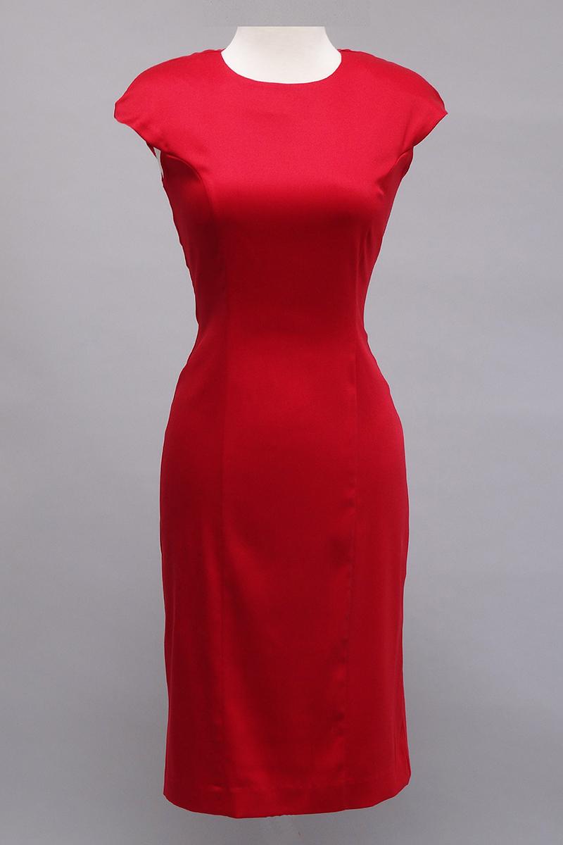 Red stretch sheath dress
