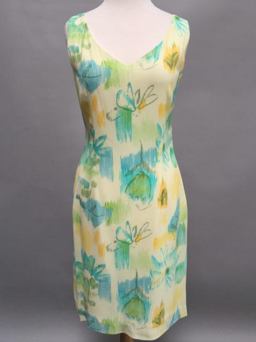 Print V-neck dress-4498-aqua-Siri