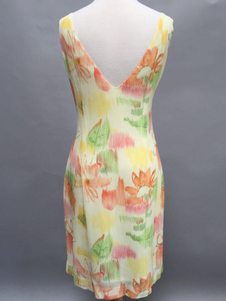 Pirinted V-neck dress-4498-pink-Siri-back