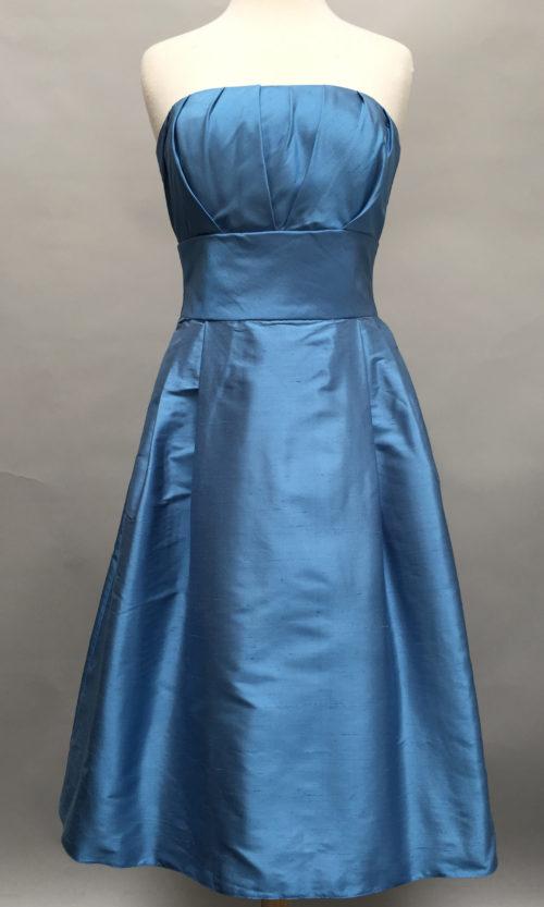 Blue strapless dress-5757-Deauville Dress-Shantung-Siri-San Francisco