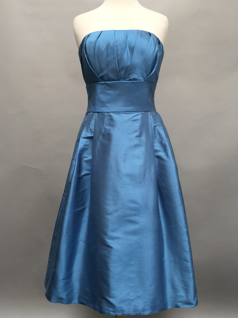 Blue strapless dress-5757-Deauville Dress-Shantung-Siri-San Francisco