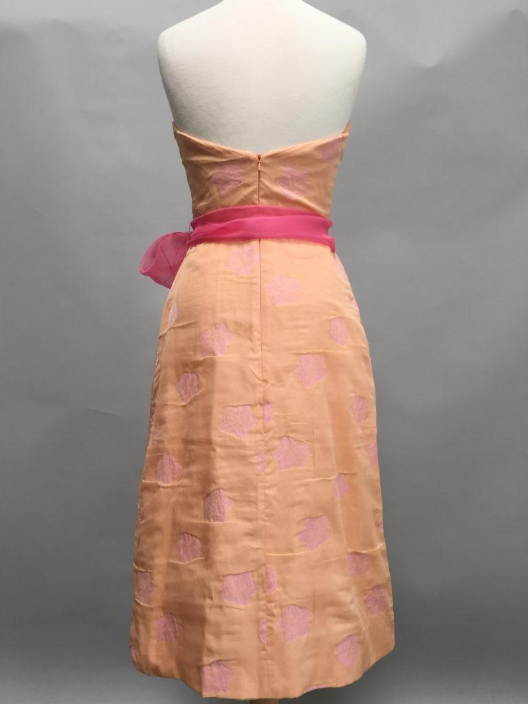 Apricot floral strapless A-line Tiffany Dress-9648-Siri-San Francisco-back