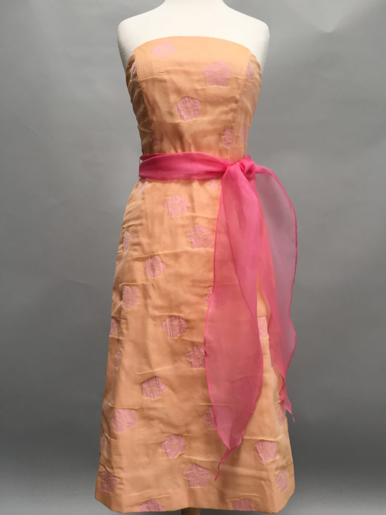 Apricot floral strapless A-line Tiffany Dress-9648-Siri-San Francisco