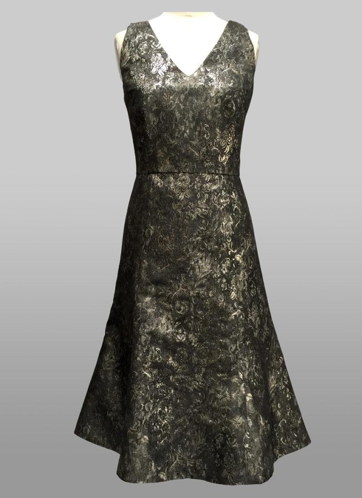 Metallic V neck dress