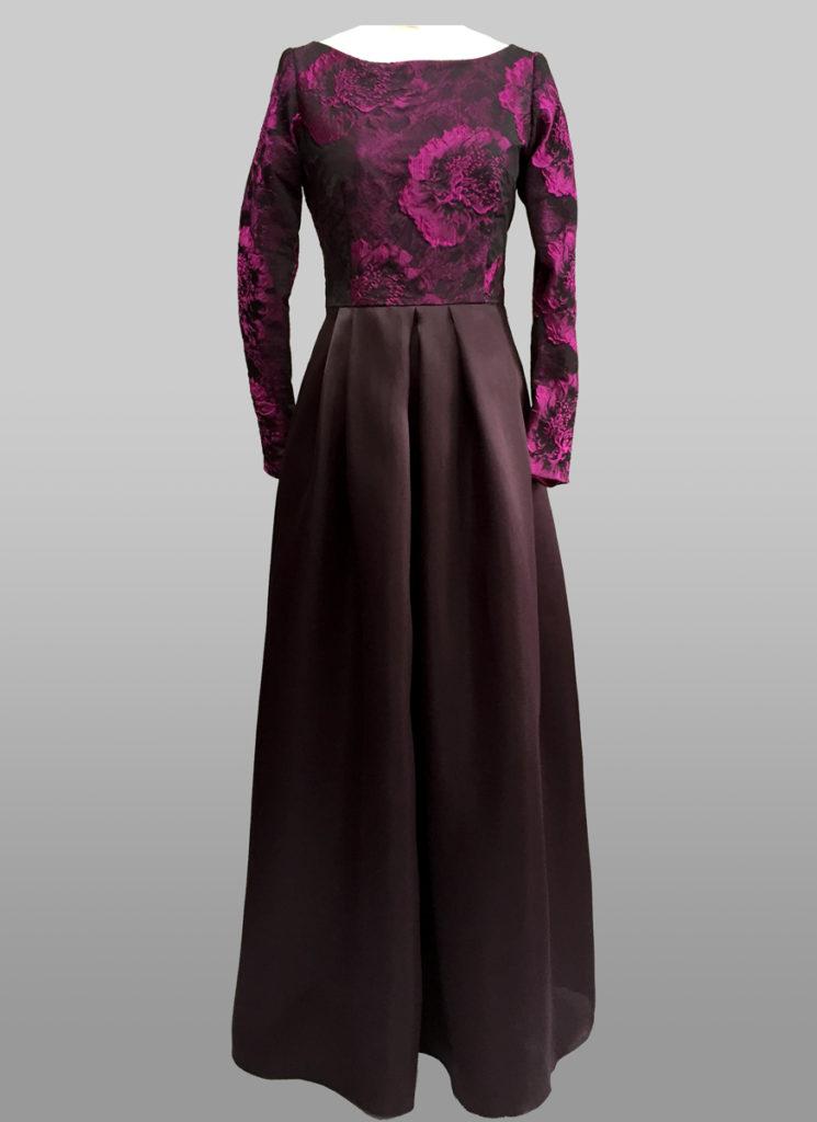 Dark purple Gown with sleeve