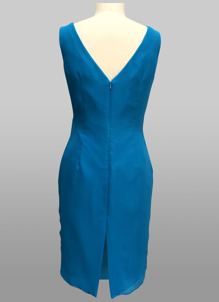 Blue chiffon dress back