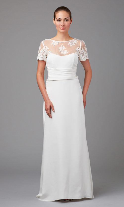 Silk crepe and lace bridal gown