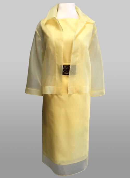 Sheer jacket over dress