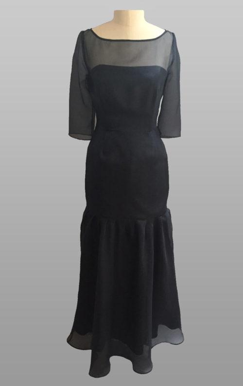 Navy silk gown