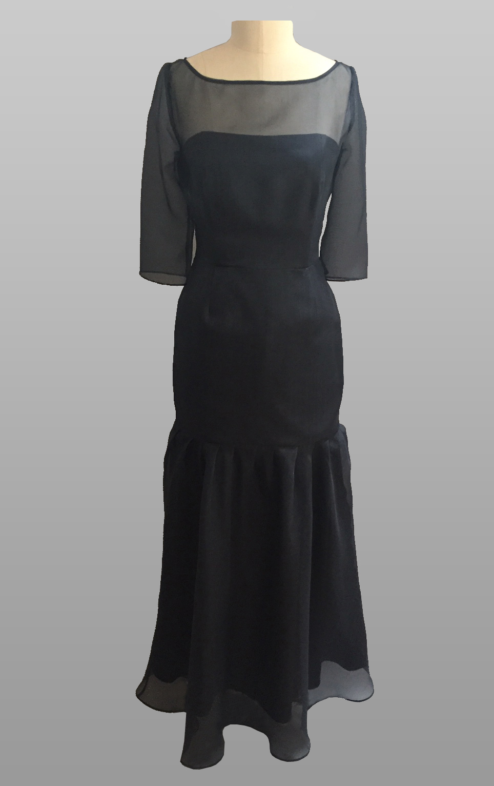 Navy silk gown
