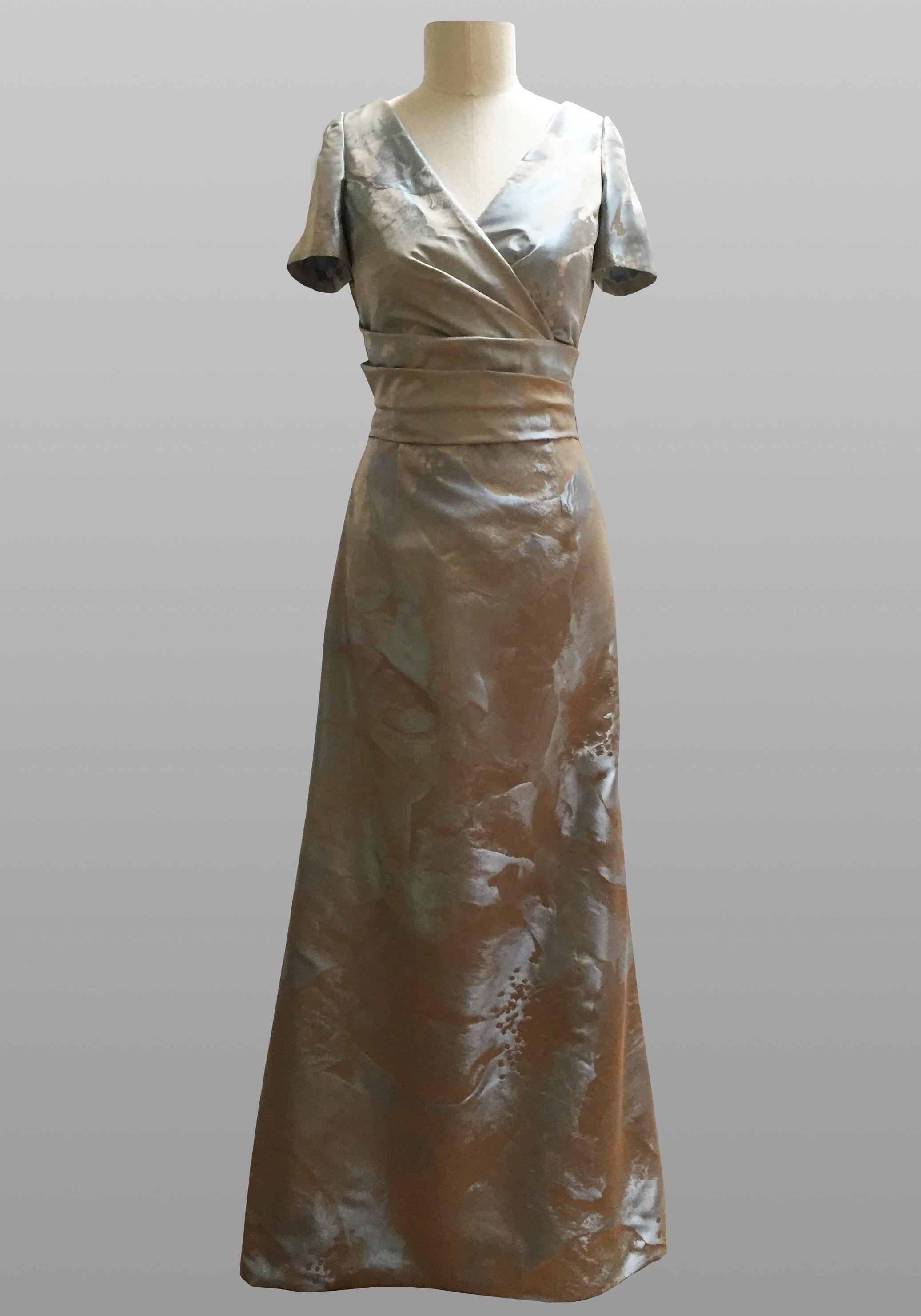 Siri blue silver floral gown