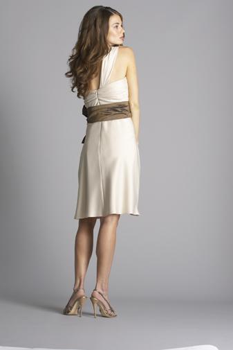 One shoulder champagne dress