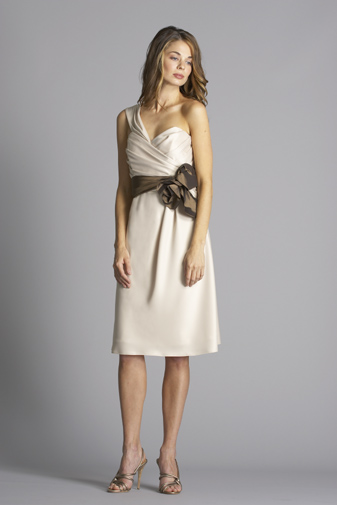 Siri one shoulder champagne dress