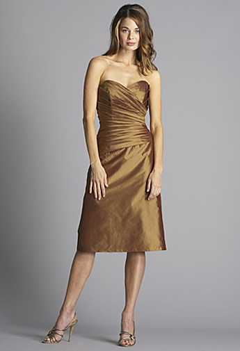 Bronze strapless dress