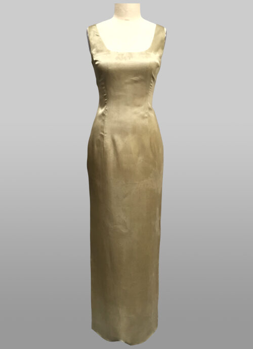 Sage sheath silk gown