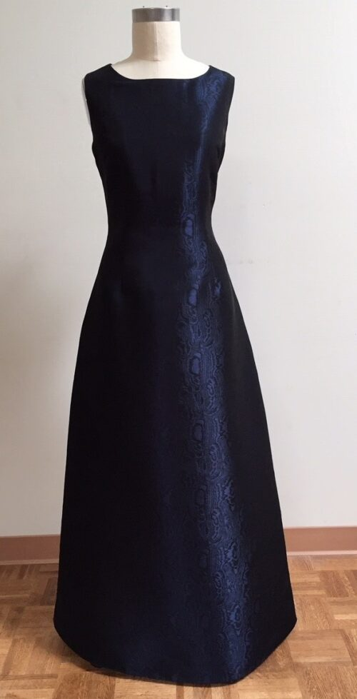 Navy A-line gown