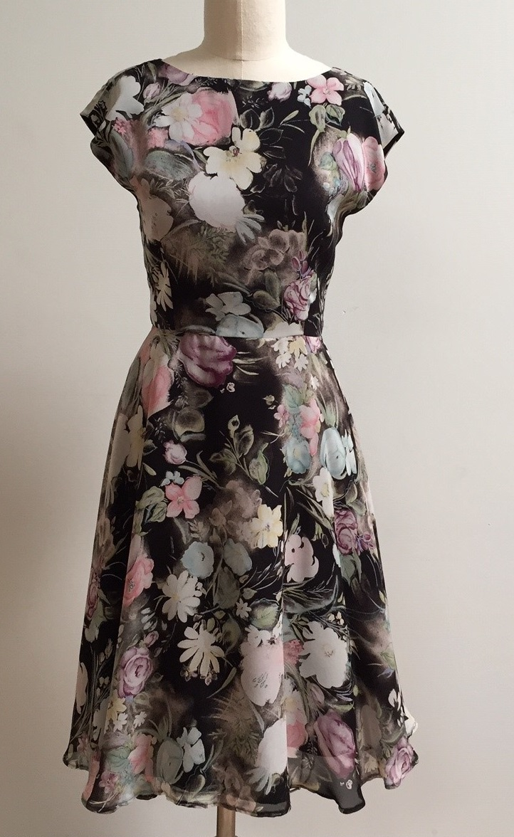 A Black and pink dress with full skirt for a special occasion