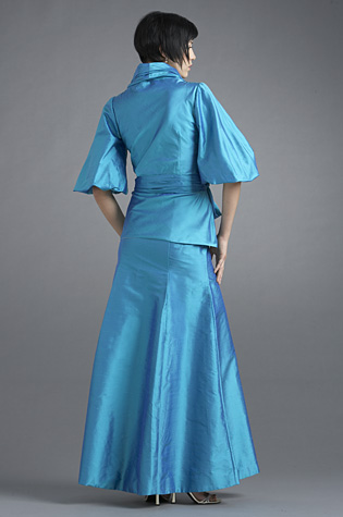 Blue jacket and trumpet skirt