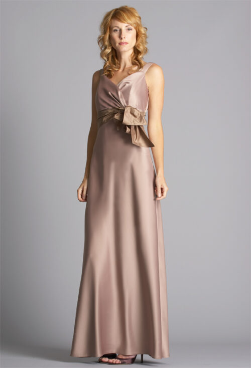 Taupe satin gown